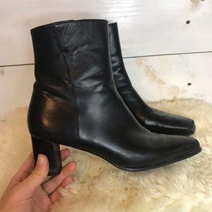 Stuart Weitzman | Black Leather Square Toe Booties